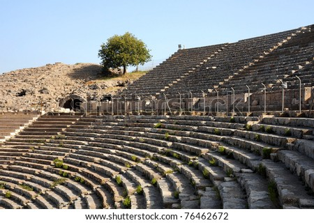 Rows of ancient Greek theater in the town of Ephesus in Turkey - stock photo