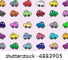 rows of cartoon cars - stock photo