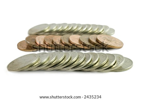 Rows of Coins - Pennies & Ten pence - stock photo