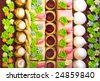 Rows of colorful cakes - stock photo
