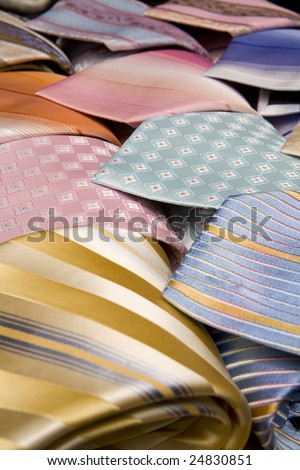 Rows of different ties - stock photo