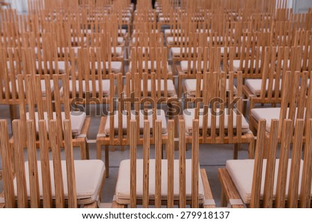 Rows of empty chairs - stock photo