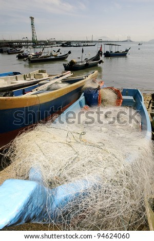 Rows of fishing boat at the fishing village - stock photo