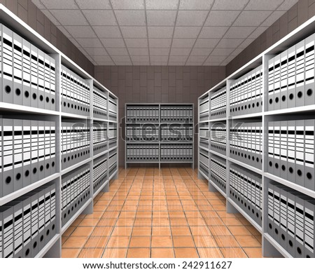Rows of folders with documents are on the shelves in the warehouse. - stock photo
