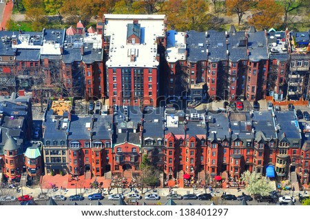 Rows of houses in Back Bay, Boston. High view from Prudential tower, Boston, USA - stock photo