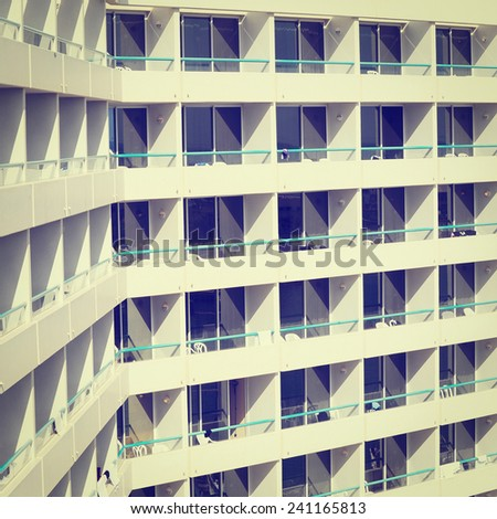 Rows of Many White Balconies of Modern Building, Instagram Effect - stock photo