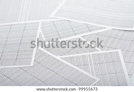 Rows of numbers. Focus in center - stock photo