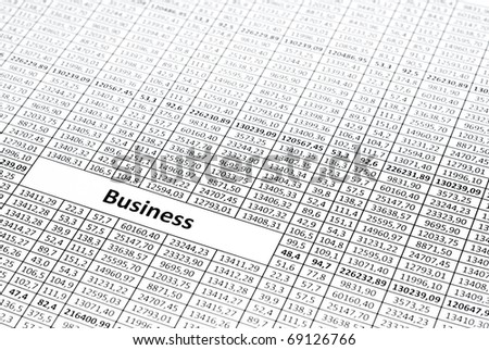 Rows of numbers. Focus in center (on word business) - stock photo
