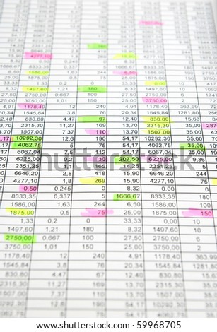 Rows of numbers. Some numbers are selected markers - stock photo