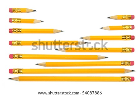 Rows of Pencils on White Background - stock photo