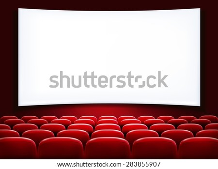 Rows of red cinema or theater seats in front of white blank screen.  - stock photo