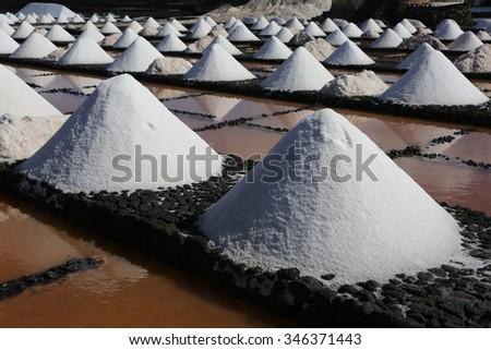 Rows of sea salt - stock photo