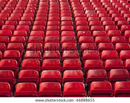 Rows of seats at a stadium - stock photo