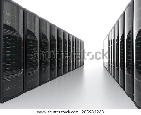 Rows of server system on white background - stock photo