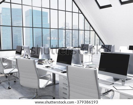 Rows of tables facing each other leading to the panoramic window in an office in an attic. Computers and stuff on them, white chairs. Singapore view. Concept of a modern office. 3D rendering - stock photo