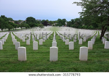 Rows of white tombstones in cemetery in Queens - July 2, 2015, National cemetery, New York City, NY, USA - stock photo
