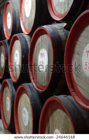 Rows of wine and cognac barrels - stock photo