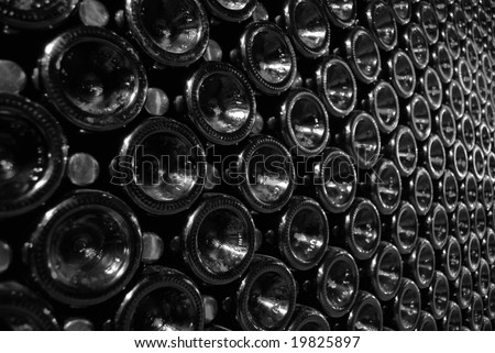 rows of wine bottles - stock photo
