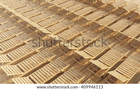 Rows of wooden chaise longues. Topview, 3D Rendering - stock photo