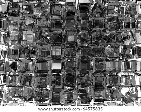 Rows roll gray glass cubes - stock photo
