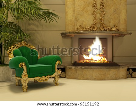 Royal armchair by fireplace in luxury interior - stock photo