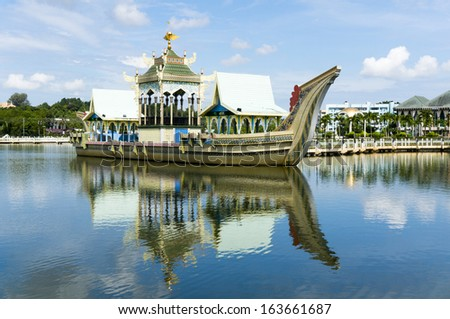 Royal barge at Masjid Sultan Omar Ali Saifuddin Mosque in Bandar Seri Begawan, Brunei Darussalam. Brunei plan to implement sharia law soon. - stock photo