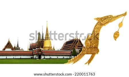 Royal Barge Suphannahong and temple, Bangkok, Thailand, clipping path - stock photo