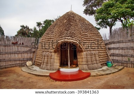 Royal beer brewer's hut at Rukali, Nyanza, Rwanda - stock photo