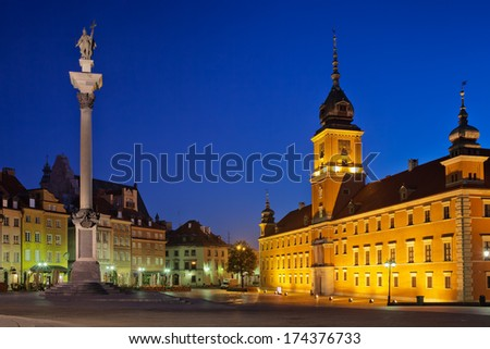 Royal Castle and King Sigismund III Vasa Column by night in the Old Town of Warsaw, Poland. - stock photo