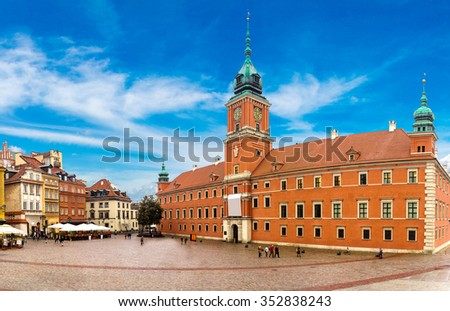 Royal Castle and Sigismund Column in Warsaw in a summer day, Poland - stock photo