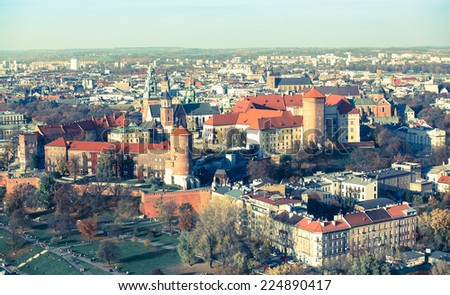Royal Castle in Krakow's Old Town. Film photography imitation. - stock photo