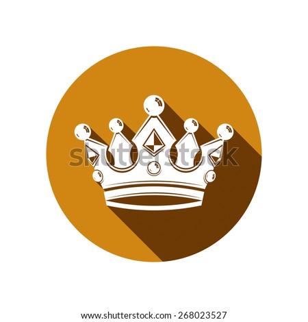 Royal design element, regal icon. Stylish majestic 3d crown, luxury coronet illustration. Imperial three-dimensional symbol. - stock photo