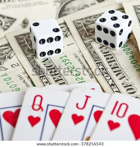 Royal flash with money and dices  - stock photo