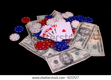 Royal Flush - Hearts - stock photo