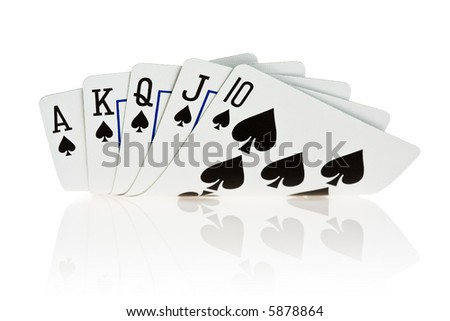 Royal flush of spade on white background - stock photo
