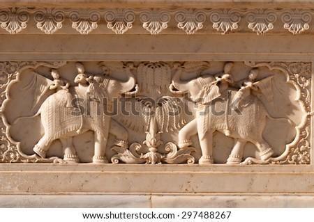 Royal Gaitor tumbas decoration, Jaipur, India - stock photo
