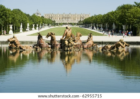 Royal Garden and Fountain inside Palace de Versailles, France, UNESCO - stock photo