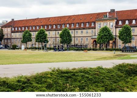 Royal guardsmen in field dress in castle Rosenborg slot, Copenhagen, Denmark - stock photo