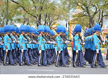 Royal King and Queen's Guard of Thailand Soldiers in Parade Uniforms Marching During the Royal Funeral of Her Royal Highness Princess Bejaratana on 9 April 2012 at (Sanam Luang) Bangkok, Thailand - stock photo