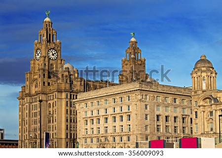 Royal Liver Building in Liverpool UK, one of the world's most famous waterfront skylines - stock photo