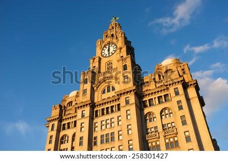 Royal Liver Building, Pier Head, Liverpool, England, UK - stock photo