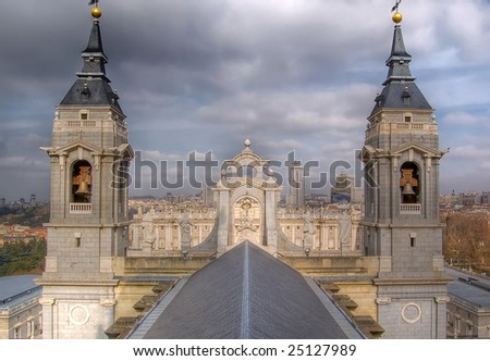 Royal Palace and Spain Square from Cathedral of Madrid. - stock photo