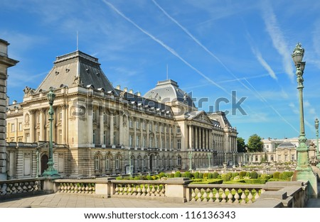 Royal Palace in center of Brussels, Belgium in clear day - stock photo
