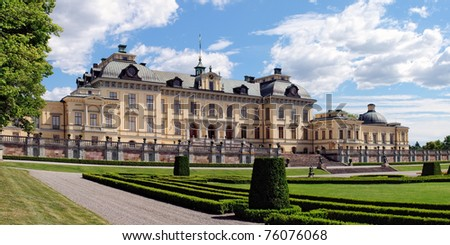 Royal Palace in Drottningholm in Sweden. Panoramic image from several shots - stock photo