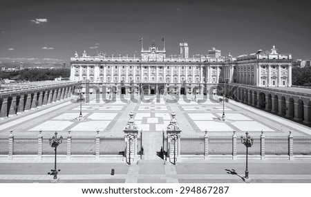 Royal Palace in Madrid Spain. Photo from above. Black & white picture. - stock photo