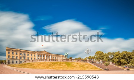 Royal palace in Oslo, Norway with blue sky - stock photo