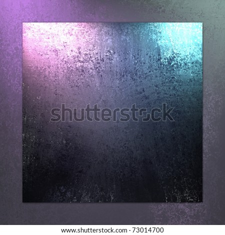 royal purple and blue background with dark matching frame border around the edges, with smeary old grunge texture, soft blue lighting, and copy space - stock photo