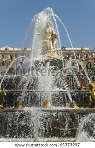 Royal residence Versailles fountain - stock photo