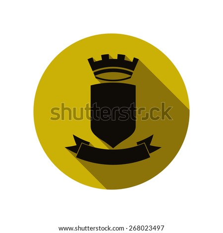 Royal security emblem, simple shield with crown and ribbon. Heraldic decoration, can be used in advertising and design. - stock photo
