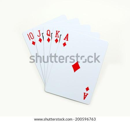 Royal Straight Flush, Poker diamonds of ACE K Q J 10 playing cards isolated on white background - stock photo